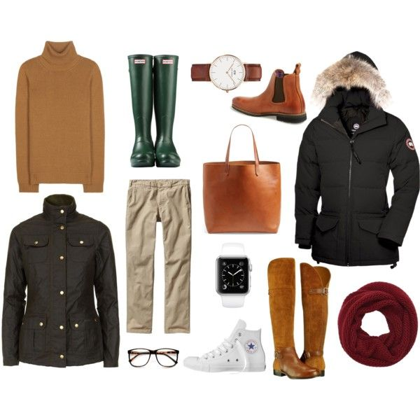 Basic Fall by cieslakemi on Polyvore featuring Valentino, Canada Goose, Barbour, Naturalizer, Hunter, Converse, Madewell, Daniel Wellington, Wyatt and Patagonia