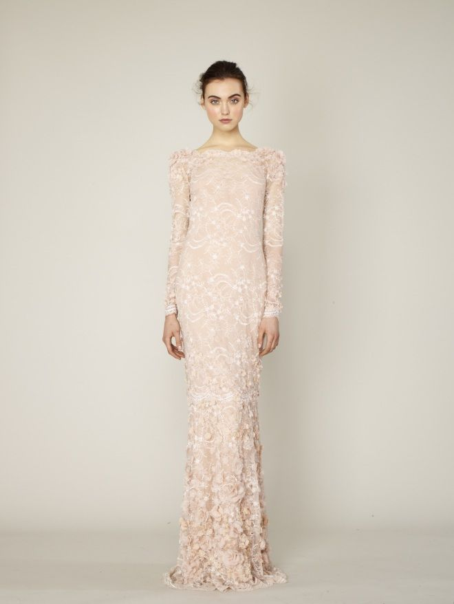 This fair pink lacy bodycon gown would float down the red carpet #Marchesa #tailored