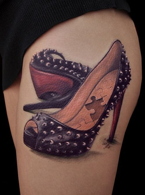 Exaggerated High-heeled Shoes Tattoo Design