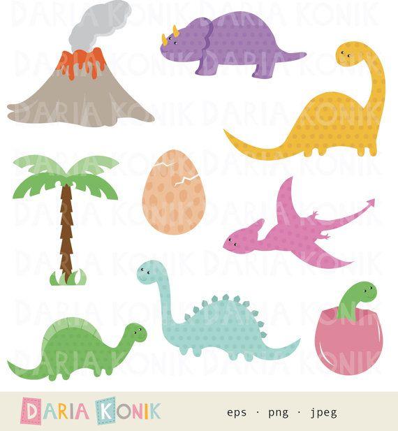 Dinosaurs Clip Art Set, dinosaur clipart, cute dinosaurs by dariakonik