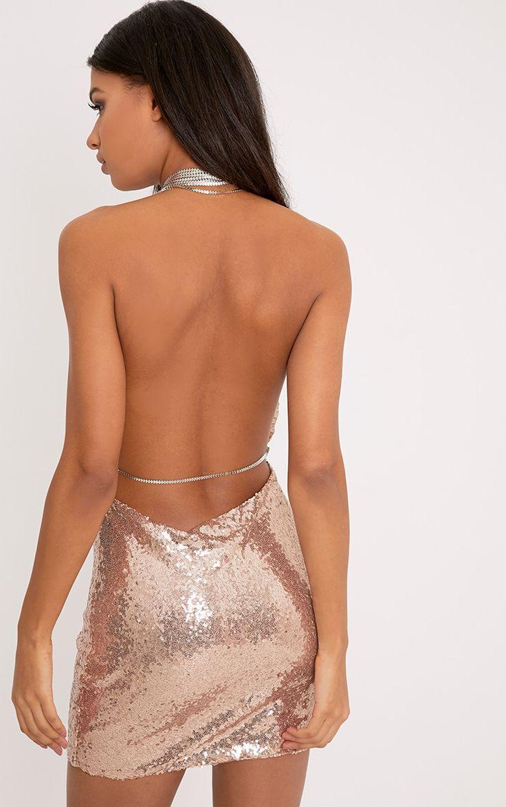 Tarria Rose Gold Sequin Chain Choker Mini Dress  Image 2