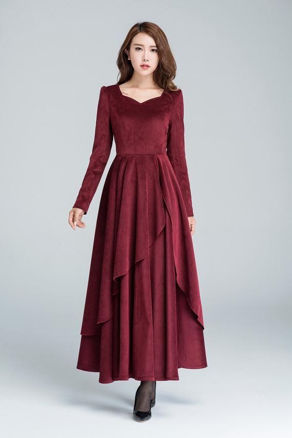 burgundy corduroy dress long sleeve cocktail dress maxi etsy