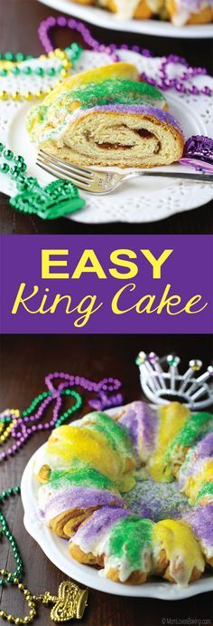 This Easy King Cake is a quick and simple version. But I promise, it is still just as tasty! My kids absolutely LOVE it! Find the recipe on http://MomLovesBaking.com