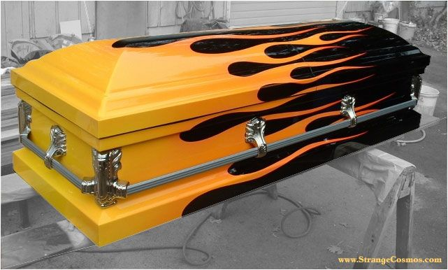 Not sure what to think of this.   Though this is well done and as much as I love flames I am not so sure I would want them here... to each his own..   COFFIN FOR A HOT RODDER - CUSTOM PAINT JOB - FLAMES
