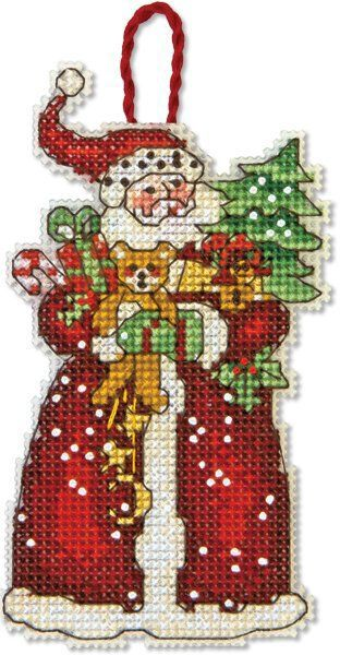 Dimensions Santa Christmas Ornament - Cross Stitch Kit. An old-fashioned St. Nicholas with his arms laden with gifts makes Dimensions' Santa counted cross stitc