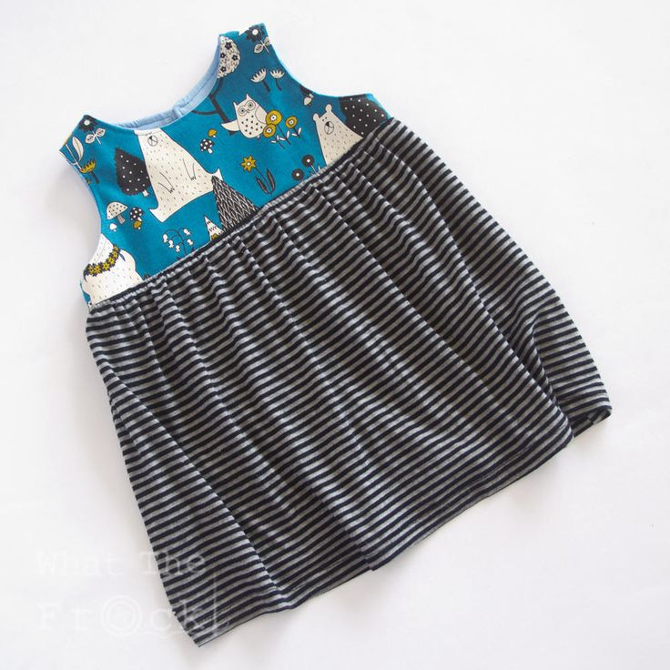 Girls Tunic Dress, Blue and Black, Bears in the Woods, Size 18 months. by WhatTheFrockNZ on Etsy