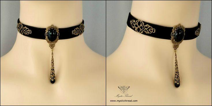 #Black #velvet #gothic #victorian #vintage #choker with black #agate #gem by #mysticthread - http://www.mysticthread.com