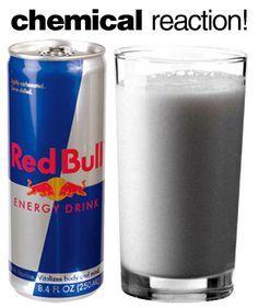 agrega leche al red bull y dejala 5 min. se separa la proteina de la leche y se hace solido :)