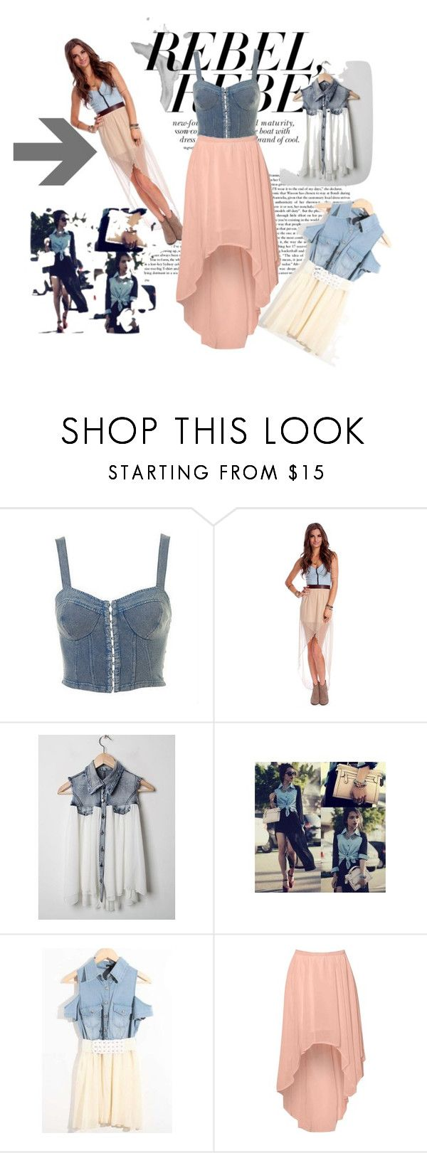 """Denim and Chiffon"" by chynabfierce ❤ liked on Polyvore featuring Topshop, Oxford Circus and Glamorous"