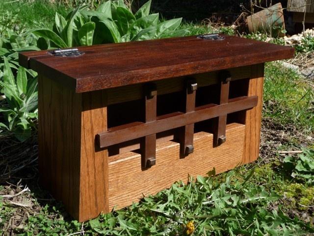 Craftsman Style Oak and Walnut Wooden Mailbox. $150.00, via Etsy.