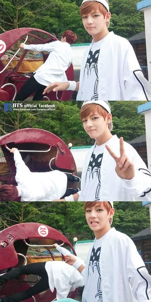 At first you're taken with Taehyung's cute face...and then you see Jungkook in the background.