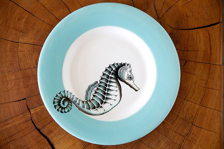 Jersey Pottery Neptune Seahorse Side Plate #JerseyPottery #ceramics #pottery #marine #seahorse