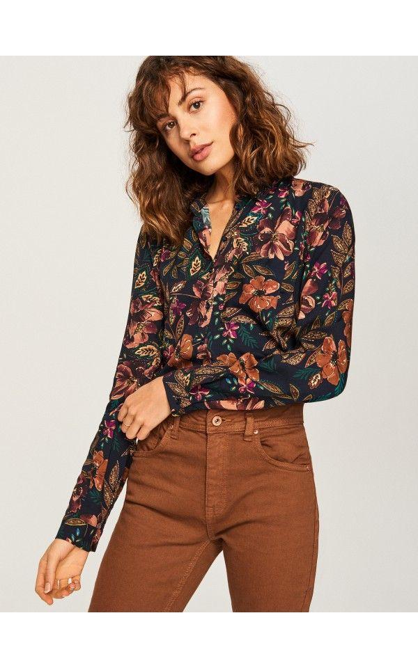 Koszula W Kwiaty Koszule Granatowy Reserved Summer Fashion Style Fashion