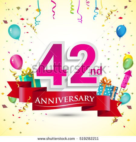 42nd Years Anniversary Celebration Design, with gift box and balloons, red ribbon, Colorful Vector template elements for your birthday party.