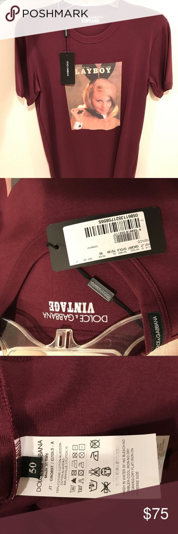 BNWT Men's Dolce & Gabbana Shirt 100% Authentic Brand New With Tags - Never Worn Men's Dolce & Gabbana T Shirt.  100% Authentic.  Size 50 (European) Fits size Medium/Large.  Front of shirt includes 1967 Playboy Playmate.  Color is maroon.  Never worn and comes from a pet free and smoke free home. Dolce & Gabbana Shirts Tees - Short Sleeve