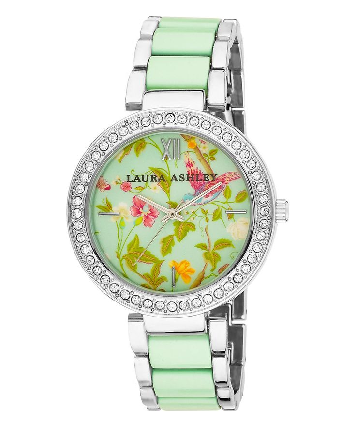 Look at this Laura Ashley Green & Silver Summer Duck Egg Bracelet Watch on #zulily today!