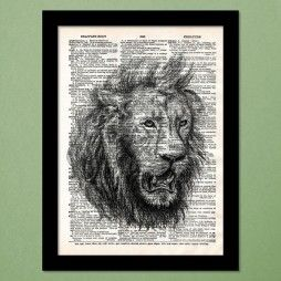 Angry Pencil Lion Dictionary Art Print