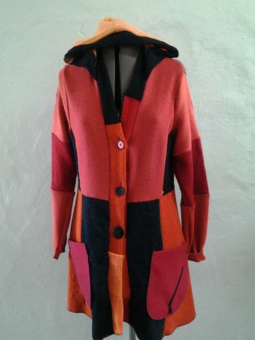 Sweatercoat handmade from recycled wool. colourful and cozy,one of a kind