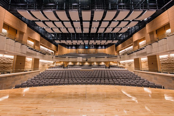Wheaton High School Auditorium with our Topakustik Panel in a Steamed Beech veneer and also Topakustik Planks in an American Maple veneer. Grimm and Parker Architects. Photograph by Kevin Burns. #topakustikusa #acoustics #veneer #design