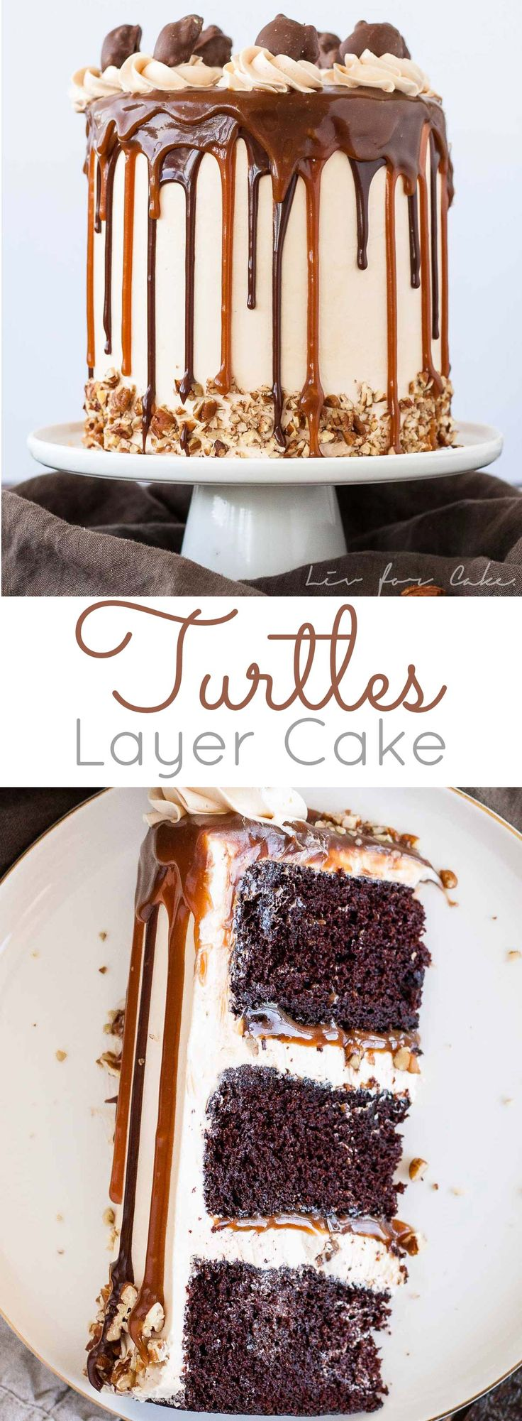 Transform your favorite candy into this Turtles Layer Cake! Layers of rich chocolate cake, caramel buttercream, caramel sauce, and chopped pecans. | livforcake.com via @livforcake