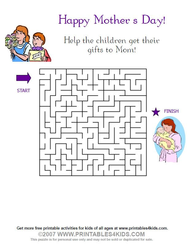 Mothers Day Maze : Printables for Kids – free word search ...