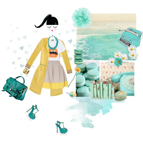 turquoise by drusilla90 on Polyvore featuring moda, Closet, Sergio Rossi, Proenza Schouler, DAY Birger et Mikkelsen, Amrita Singh, Tiffany & Co., Gerber, Paperself and ANISE