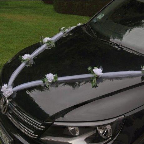 Guirlande de tulle pour decoration de voiture mariage (