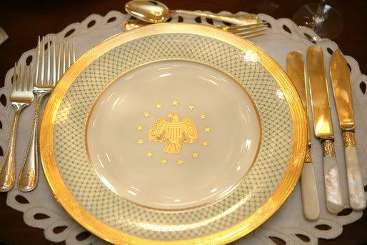 Gold rim and basket weave design