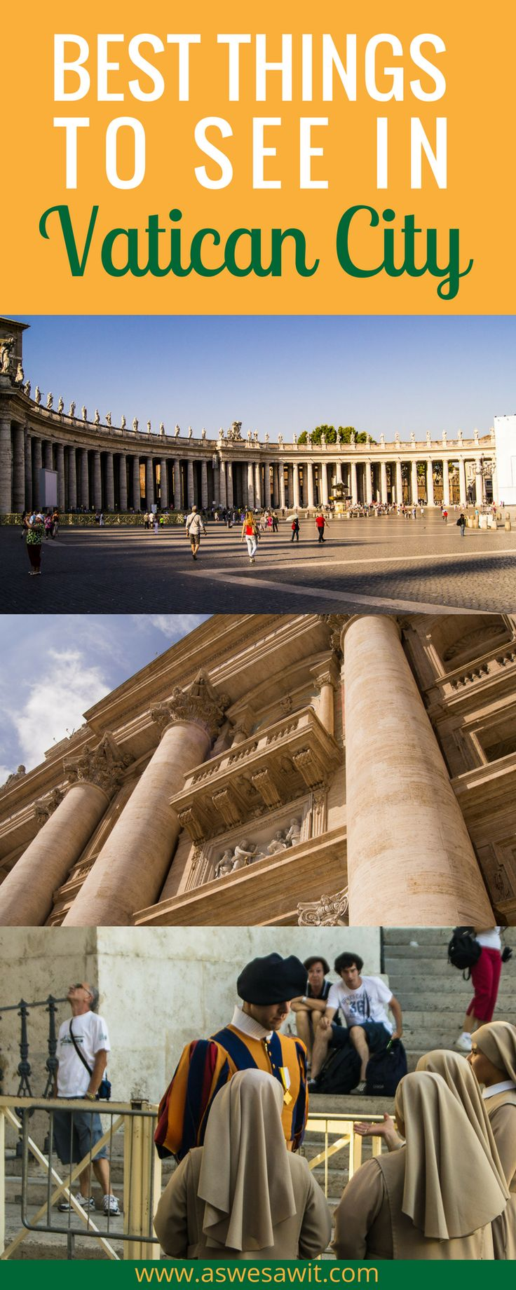 Best things to see in Vatican City in one day. If you are on a tight schedule for your visit to Vatican City and only have one day to spend there, you need to make a plan to get the most of that day. Click through to find out our tips for the best things to see in Vatican City in one day - you will be able to fit in more than you'd think. | As We Saw It #italy #travelitinerary #vaticancity