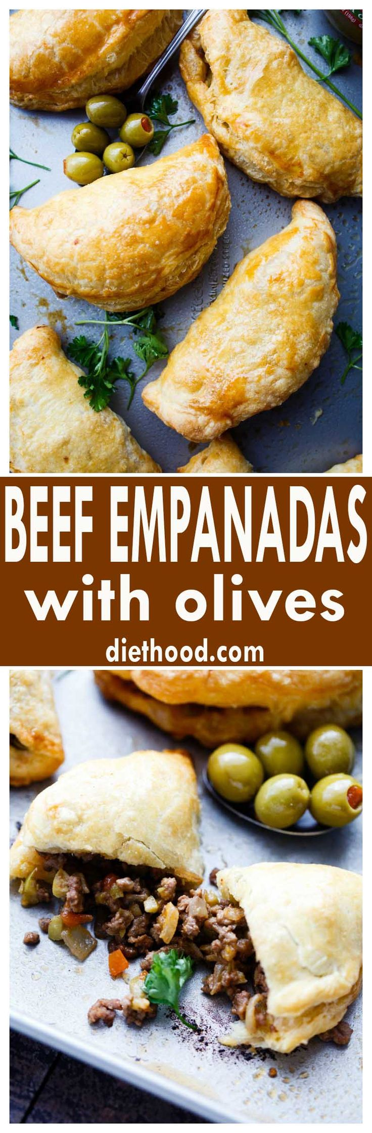 Beef Empanadas with Olives - Made with puff pastry dough and filled with an incredible beef and olives mixture, these empanadas are quick to prepare and they're absolutely delicious!