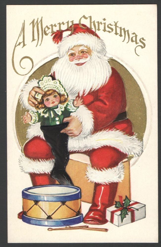 Embossed Santa Claus Christmas Postcard Stuffing Doll into Stocking Toy Drum etc #Christmas