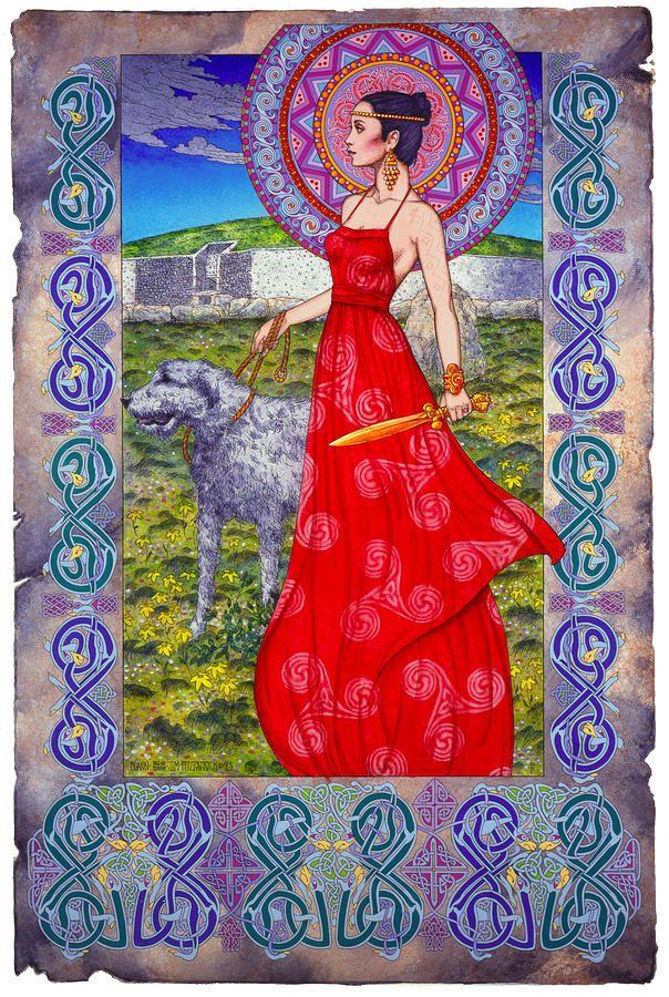 Irish paintings | Irish Celtic Fantasy Art Print - Boann Bru Na Boinne Painting