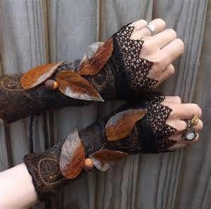 Midnight Forest Cuffs Steampunk Fairy Cuffs Vintage by folkowl
