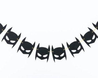 Batman Mask & Lightening Bolt Garland 3 FT 6 FT 8FT by RadPaperCo