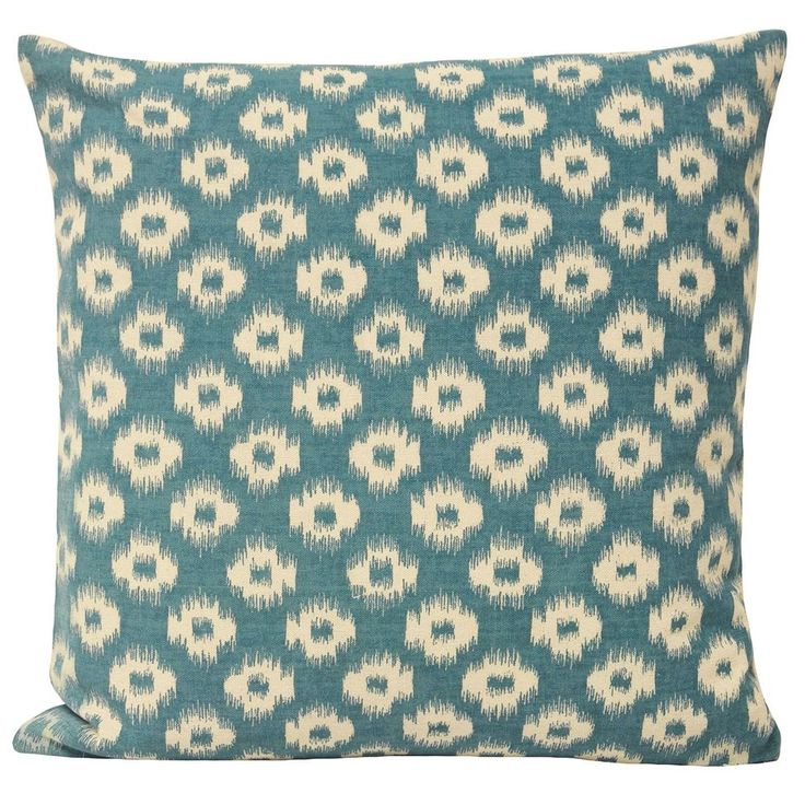 IKAT CUSHION COVER Linen Blend Moroccan Geometric Pillow 18 x18  Teal Blue