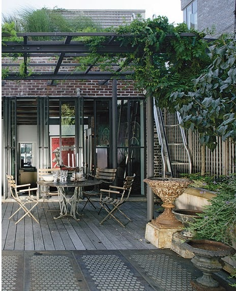 Outdoor patio with pergola - Marcus Nispel turned an old building in a triplex in Soho, New York