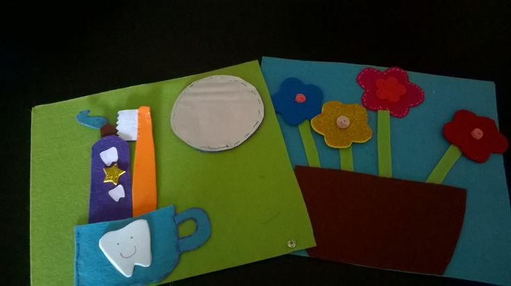 First pages of quiet book: brush your teeth, button  flowers
