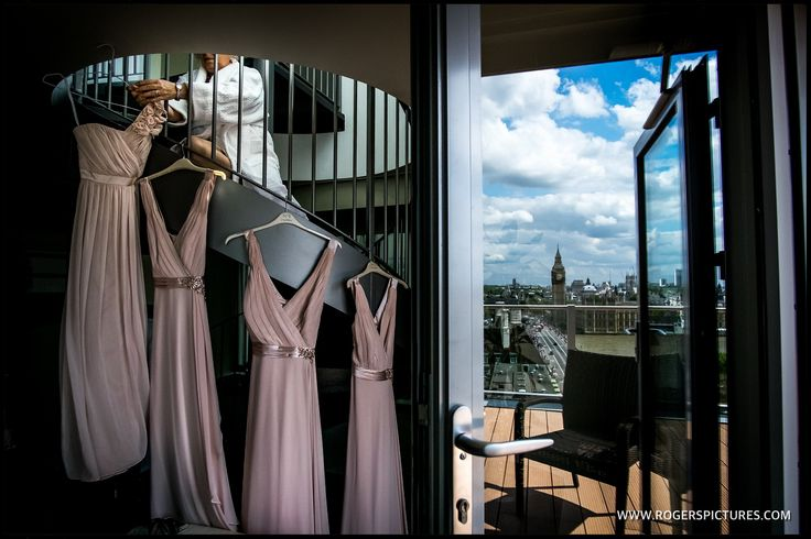 Bridesmaids dresses hanging at the Park Plaza Hotel Westminster opposite Parliament