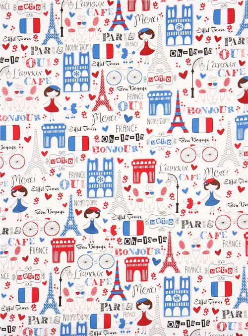 white Timeless Treasures Paris France fabric 2