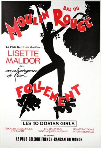 Lisette Malidor at the Moulin Rouge. Poster by Rene Gruau.