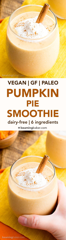 Vegan Pumpkin Pie Smoothie (V, GF, DF): a 6 ingredient recipe for creamy, thick pumpkin pie smoothies bursting with fall flavor. #Vegan #Paleo #GlutenFree #DairyFree   BeamingBaker.com