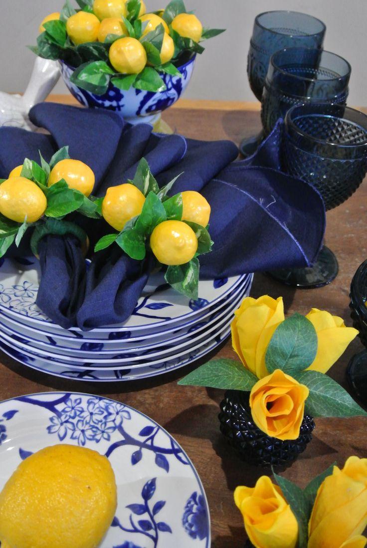 Porta guardanapo Limão Siciliano - Citrus Lemon Napkin Rings