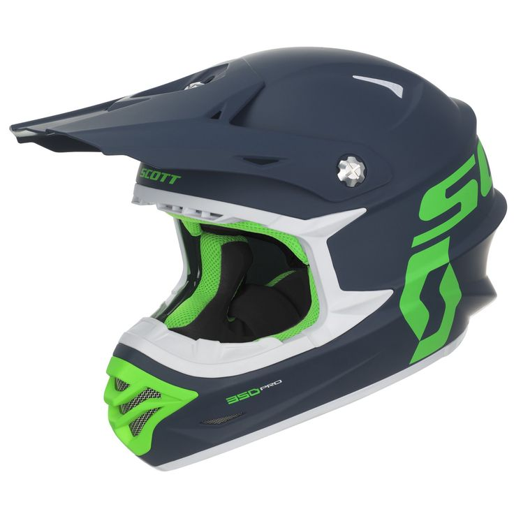 Scott Sports 350 Pro ECE Helmet -- Is it time to replace your old, worn out MX helmet? How about a new SCOTT 350 PRO ECE Helmet in matte blue with bright green highlights? A pro quality helmet made from lightweight thermoplastic featuring their Conehead Technology and high-flow vent systems. It also has an adjustable visor along with a removable and washable liner and cheek pads. Available in three other colour designs if green on blue is not your taste.