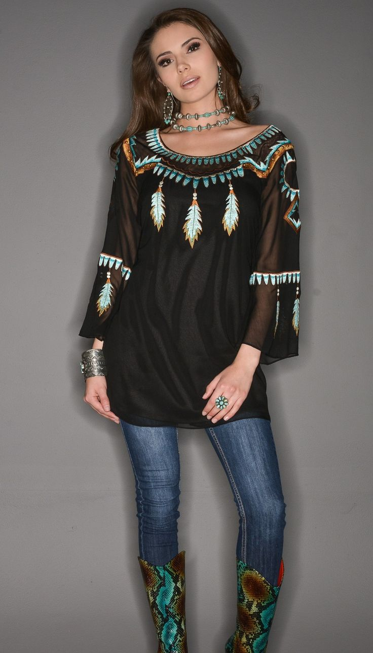 Vintage Collection Fall Dream Catcher Tunic-feathers, turquoise, embroidery, native american http://www.cowgirlkim.com/vintage-collection-fall-2015-dream-catcher-feathered-tunic.html