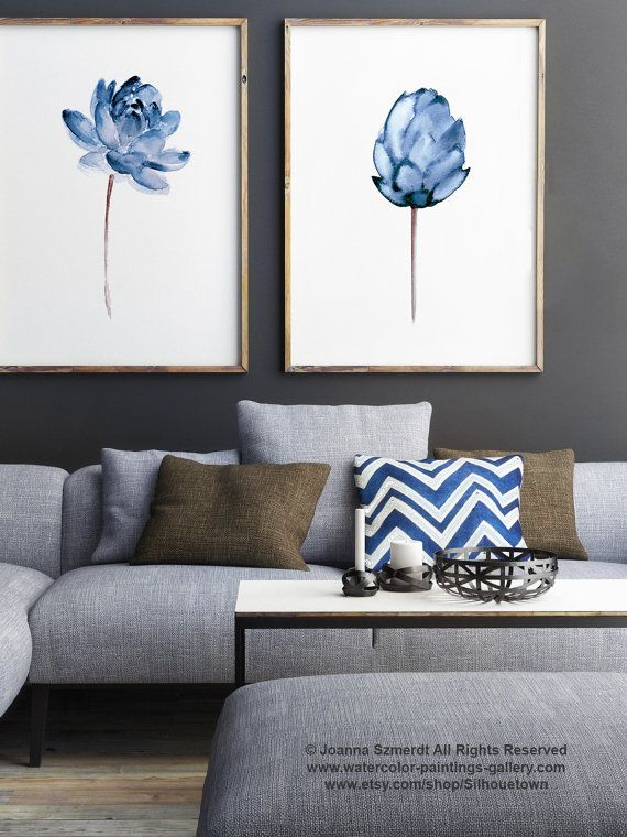 Lotus Flower Art Print, Floral Watercolor Painting Set of 2, Blue Home Decor ,