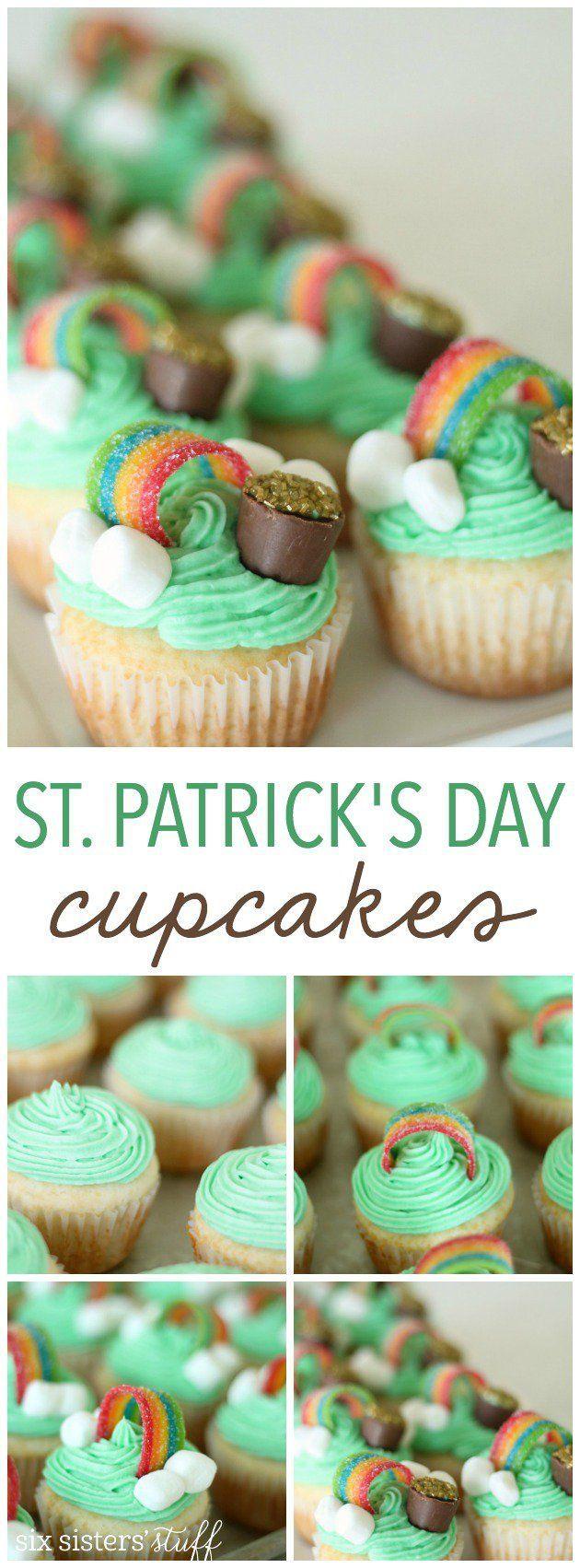 St. Patrick's Day Cupcakes from SixSistersStuff.com | Kids School Dessert Ideas | St Patricks Day Ideas