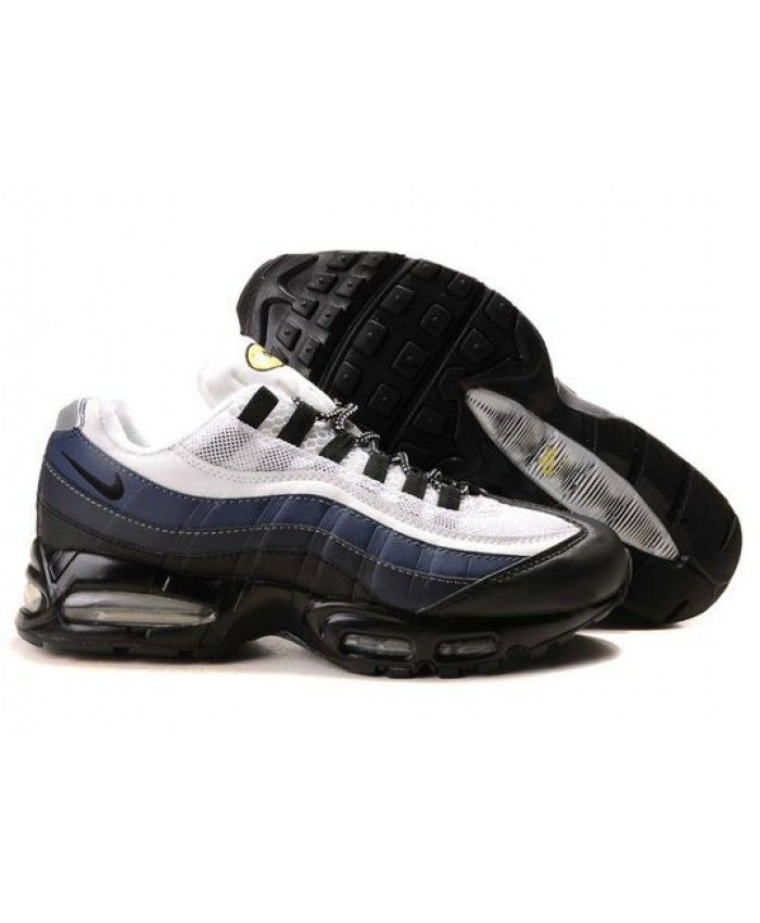 best website cd72c d44f3 Nike Air Max 95 Black Deep Blue Grey White Trainers
