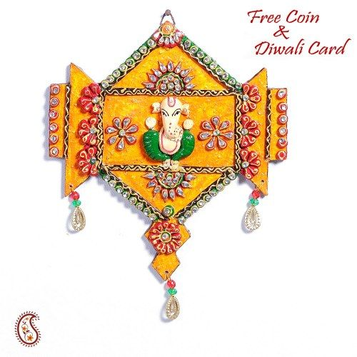 Wooden Orange Clay and Kundans Ganesh Hanging Wall Art - Online Shopping for Diwali Pooja Accessories by Apno Rajasthan