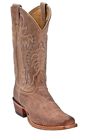 Nocona® Men's Tan Brown Vintage Cow Single Welt Punchy Square Toe Western Boots