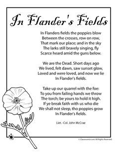 Memorial Day Worksheets for Kids Poppy Poem for Memorial Day and Veterans Day – Classroom Jr.